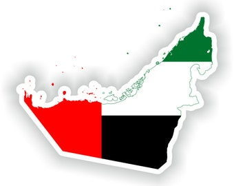 United Arab Emirates Map Flag Silhouette Sticker for Laptop Book Fridge Guitar Motorcycle Helmet ToolBox Door PC Boat