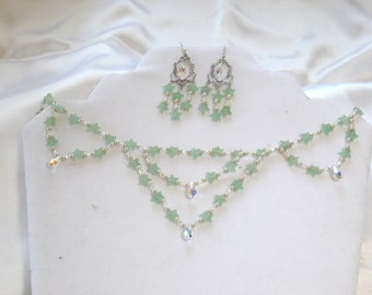 Green aventurine necklace,aventurine earrings,aventurinr jewelry, Swarovski AB crystals and sterling silver necklace set.