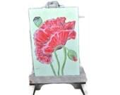 Hand Painted Stone Poppy Flower Magnet . Artwork Home Garden Decor.