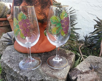 Vintage Gold Trimmed, Applied Grapevine Wine Goblets, Wine Glass, Glassware, Barware, Stemware