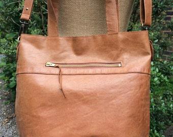 Recycled leather bag - Hobo style bag -dark tan leather-shoulder-hand held-crossbody- detachable adjustable strap.