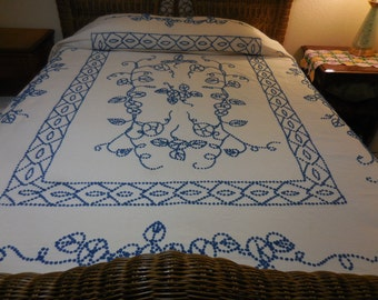Sale - Vintage HANDMADE White with Royal BLUE Chenille POPS Vintage Chenille Bedspread - Free Shipping