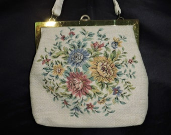 Vintage Gold Pink Blue Yellow Floral Tapstery Purse Handbag Pocketbook Fabric 1960s 70s