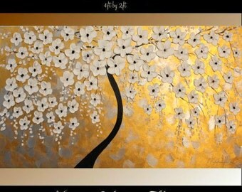 "XL Oil Gold,Silver Cherry Blossom painting Abstract Original Modern 48"" palette knife impasto oil painting by Nicolette Vaughan Horner"