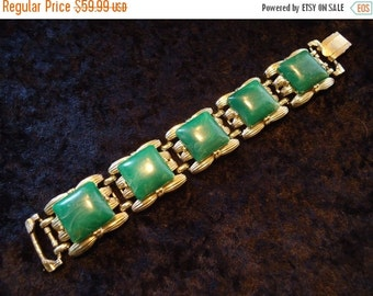 Now On Sale Vintage 1960's Large Signed Coro Green Lucite Chunky Bracelet Old Hollywood Mid Century Collectible Costume Jewelry