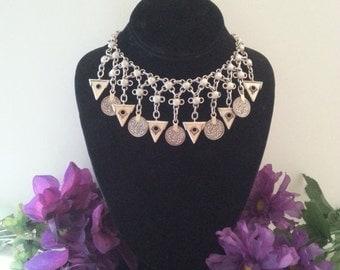 Now On Sale Vintage Aqua Silver Tone Waterfall Bib Statement Necklace Retro Rockabilly Mad Men Mod Old Hollyood Glam Black Tie Jewelry Marti