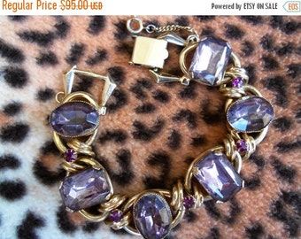 NOW ON SALE Vintage Purple Rhinestone Bracelet 1950's 1960's Collectible Lavender  Mad Men Mod Hollywood Regency Rockabilly Jewelry