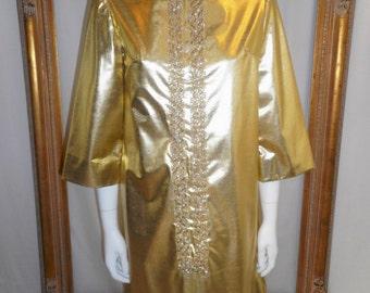 Vintage 1960's Gold Metallic Dress - Size 10/12