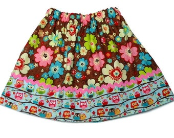 Girls Fall Skirt Owl Floral Custom Boutique Back to School Girls Fall Clothing Size 6-12 month, 12-18 month, 2 / 3, 4 / 5, 6 / 7, 8 / 9