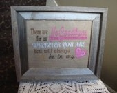 Spiritual Heart Saying Burlap Laminated No Goodbyes For Frame 8 By 10 Size Machine Embroidered