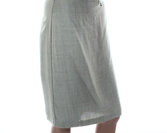 Vintage 90s Yessica Grey Green Pencil Knee Length Basic Skirt UK 12 US 10