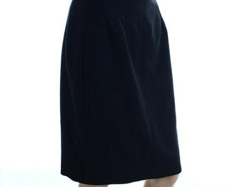 Vintage 90s Etam Black Knee Length Pencil Skirt UK 10 US 8