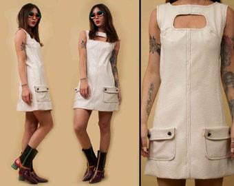 60s Vtg Iconic MOD Handmade Naugahyde Vinyl White GOGO Mini Dress / Cut Out Bust Ooak / Xs Sm