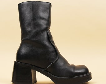 90s Vtg Black Genuine LEATHER Chunky Platform Tall Ankle Boots / Wood Stacked Heel / Minimal Chelsea Mod Grunge Biker / 5 Eu 35