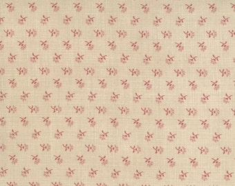 FRENCH GENERAL FAVORITES Moda by the half yard cotton quilt fabric faded red flowers on oyster beige 13526-16