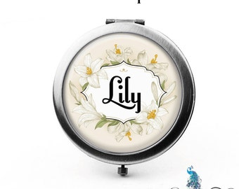 Compact Mirror Vintage Royal Lilies Floral Wreath The Lily Bridesmaid Gifts Cosmetic Mirror Personalized Gifts Birthdays Weddings