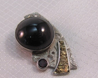 Artisan Sterling, Onyx, Garnet and Pyrite Pendant