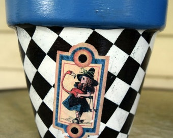"Alice in Wonderland 6"" Decorative Decoupage Flower Pot"