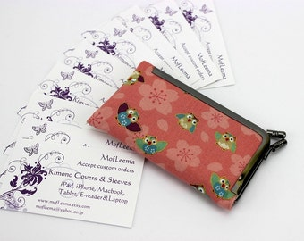 Kimono Card Case, Credit Card Holder ,Business Card Holder ,Gift For Her,Owls Pink