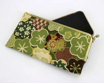 iPhone SE Purse, Galaxy S7 Case, Framed Phone Cover, Plum Blossoms Green