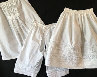 3pc childs' underpinning set chemise, drawers, corded petticoat