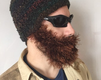 Handmade Crochet ready to ship Beard Hat in Dark  colors hat with detachable Brown beard santa claus,for men, women, kids, or babies all siz