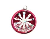 Vintage Mid Century Indent Diorama Red Glass Christmas Tree Ornament with Candle Snow Scene
