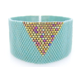 Mint Cuff, Mint Bracelet, Triangle Bracelet, Gold Triangle Cuff, Beaded Cuff, Geometric Cuff, Statement Cuff, Egyptian Style, Mod Egyptian