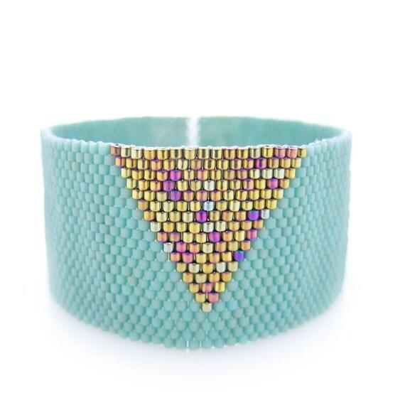 Mint Cuff, Mint Bracelet, Triangle Bracelet, Gold Triangle Cuff, Beaded Cuff, Geometric Cuff, Statement Cuff, Egyptian Style, Mod Egyptian