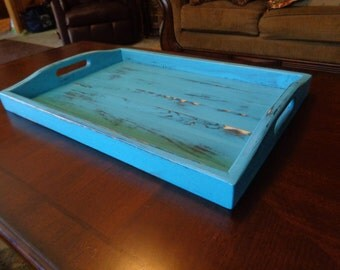 Rustic Serving Tray Teal Blue Table Center Piece