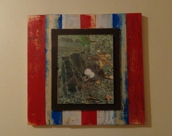 8x10 Plank Picture Frame Shabby Chic Rustic Red, White and Blue Distressed