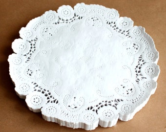100 white 8 inch doilies, French paper doilies, wedding supply, party supply, paper craft