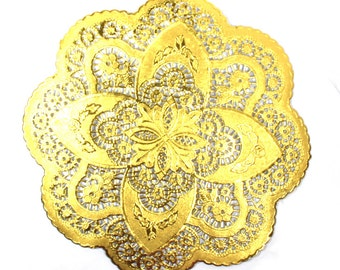 25 Gold 12 inch doilies, gold foil- NEW STYLE- dollies perfect for weddings and showers  Free Shipping