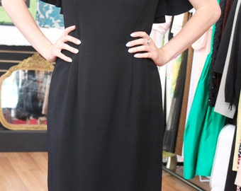 Black Dress with Drape Neckline Best & Co. 1950's