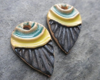Ascending- handmade artisan ceramic earring bead pair rustic tribal charms 1939