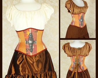 "Firefly Serenity Patchwork Waspie Corset - Corset Size 24, Fits Waist 27""-29"" - Ready to Ship"