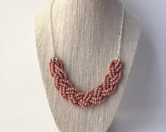 Dusty Pink Beaded Braid Necklace