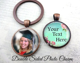 Personalized Graduation Key Chain Charm with Custom Text - Custom Double Sided Photo Pendant Graduation Inspirational Quote Jewelry