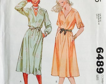 McCall's 6489, Size 6-8-10, Misses' Shirt-Dress Pattern, UNCUT, Vintage 1979, Front Button Opening, Retro, Classic Style, Quick and Easy