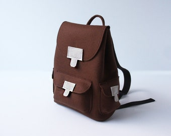 SALE Backpack Brown Felt Unisex Travel Rucksack