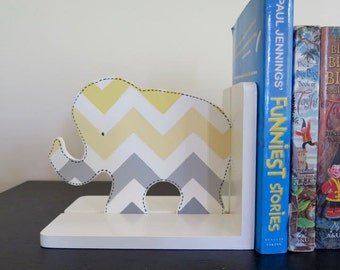 Grey/lemon chevron elephant bookends,childrens decor