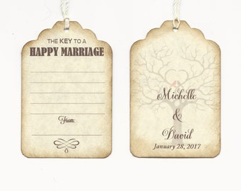 50 Double-Sided Lined Personalized Wedding Wish Tags - Wedding Favors-Elegant Wedding Tags