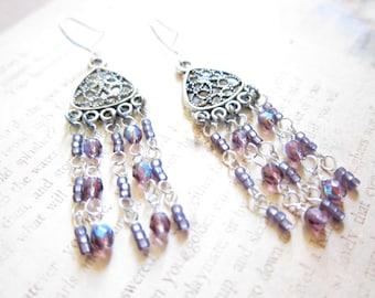 Light Amethyst AB Fire Polished Beads Chandelier Earrings TCJG