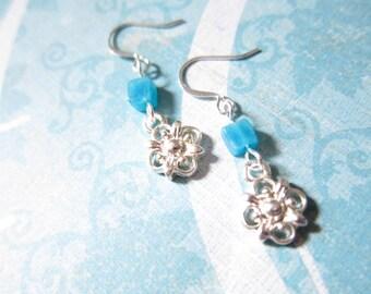 Aqua Blue Quartz Gemstone Bead Earrings TCJG