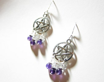 Amethyst Gemstone Swarovski Crystal Chandelier Pentagram Earrings TCJG