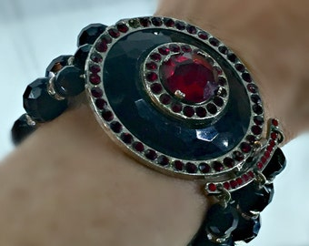"""Chunky Black Glass Bead  3-Strand Bracelet with Fabulous Circular Silver Black and Red Focal Point Clasp, 7-5/8""""-Long X 2""""-Wide"""