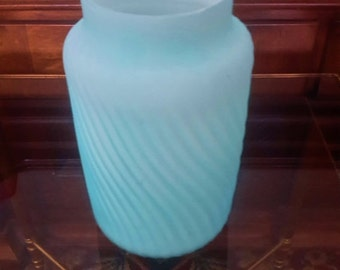 ON SALE VICTORIAN Era Glass Blue Satin Cased Glass Spiral Ribbed Wave Cylindrical Vase Collectible Glass