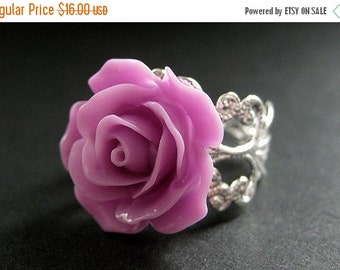 BACK to SCHOOL SALE Lilac Purple Rose Ring. Purple Flower Ring. Filigree Ring. Adjustable Ring. Flower Jewelry. Handmade Jewelry.