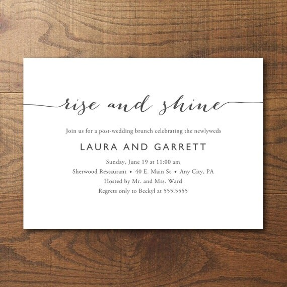 Printable Post Wedding Brunch Invitation Bridal By Birchandriver