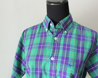 Vintage Button-Up Plaid Size Small Shirt 1980s